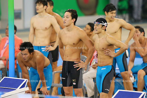 (L to R) <br /> Hirofumi Ikebata, <br /> Yasuhiro Koseki, <br /> Ryosuke Irie (JPN), <br /> SEPTEMBER 26, 2014 - Swimming : <br /> Men's 4x100m Medley Relay Final <br /> at Munhak Park Tae-hwan Aquatics Center <br /> during the 2014 Incheon Asian Games in Incheon, South Korea. <br /> (Photo by YUTAKA/AFLO SPORT) [1040]