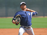 SCOTTSDALE - March 2015: Wei-Chung Wang of the Milwaukee Brewers during a minor league spring training game against the Arizona DiamondBacks on March 22nd, 2015 at Salt River Fields at Talking Stick in Scottsdale, Arizona. (Photo Credit: Brad Krause)
