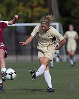 Boston College forward Kristen Mewis (19) shot eludes Florida State defender. Florida State University defeated Boston College, 1-0, at Newton Soccer Field, Newton, MA on October 31, 2010.