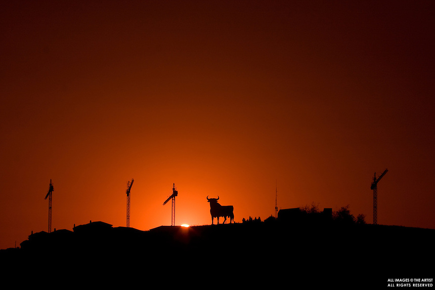 20090712 - Los Barrios (Cadiz, Spain) - Cranes pictured at sunset next to one of the advertisements of the Osborne brandy, a 14 meters high black silhouetted image of a bull, considered as the unofficial symbol of Spain. The end of the Spanish domestic housing boom has coincided with the arrival of the global finantial crisis. © BERNAL REVERT