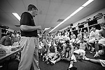 2013 May 27: The players listen to head coach John Danowski of the Duke Blue Devils read off the stats of their final game after defeating the Syracuse Orange to win the national championship.
