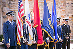 The Joint Color Guard made up of Duke ROTC units, stands near Duke's Memorial Wall during the Veterans Day Ceremony on Friday, Nov. 11.