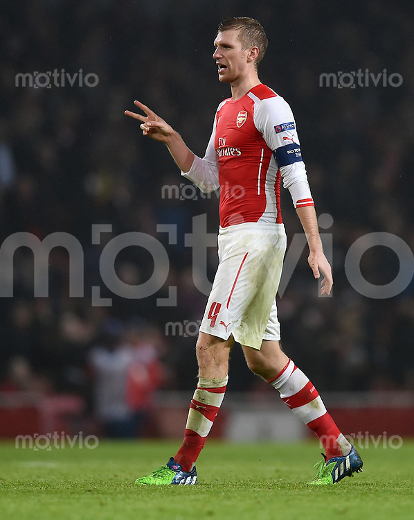FUSSBALL   CHAMPIONS LEAGUE   SAISON 2014/2015   VORRUNDE Arsenal London - Borussia Dortmund      26.11.2014 Per Mertesacker (Arsenal)