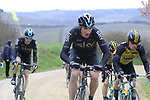 Gianni Moscon (ITA) Team Sky on gravel sector 8 Monte Santa Maria during the 2017 Strade Bianche running 175km from Siena to Siena, Tuscany, Italy 4th March 2017.<br /> Picture: Eoin Clarke | Newsfile<br /> <br /> <br /> All photos usage must carry mandatory copyright credit (&copy; Newsfile | Eoin Clarke)