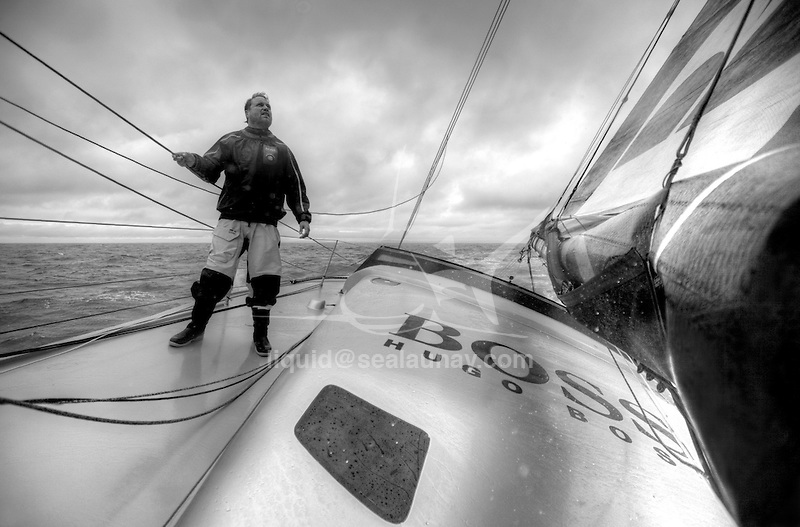 Onboard the IMOCA Open 60 Alex Thomson Racing Hugo Boss during a training session before the Vendée Globe..The Vendée Globe is a round-the-world single-handed yacht race, sailed non-stop and without assistance.