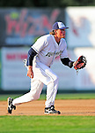 18 June 2010: Vermont Lake Monsters infielder Jack Walker in action against the Lowell Spinners at Centennial Field in Burlington, Vermont. The Lake Monsters defeated the Spinners 9-4 in the NY Penn League season home opener. Mandatory Credit: Ed Wolfstein Photo