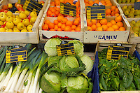 Honfleur vegatable market with boxes of vegetables