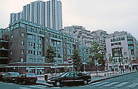 Paris: Zone d'Action Concertee, 14th ARR. Place. Constantine Brancusi, left, apartment by Antoine Grumbach. Center and right by Jean-Claude Bernard. Photo '90.