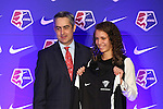 16 January 2015: Samantha Loftin (James Madison), with NWSL Commissioner Jeff Plush, was selected with 20th overall pick by the Boston Breakers. The National Women's Soccer League Draft was held at the Pennsylvania Convention Center in Philadelphia, Pennsylvania.