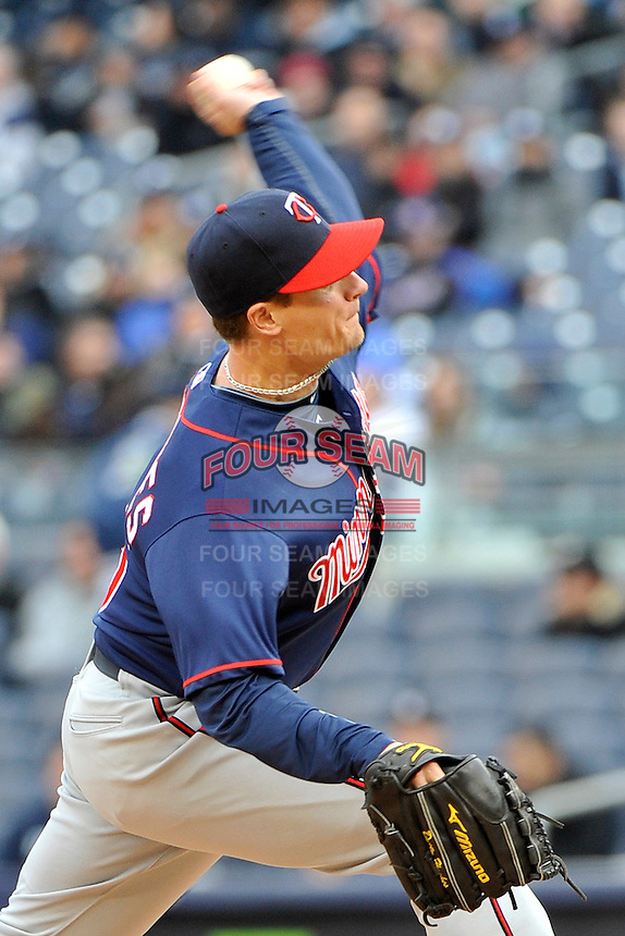 Apr 07, 2011; Bronx, NY, USA; Minnesota Twins pitcher Dusty Hughes (56) during game against the New York Yankees at Yankee Stadium. Yankees defeated the Twins 4-3. Mandatory Credit: Tomasso DeRosa /Four Seam Images