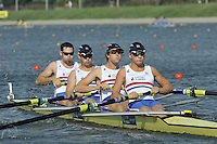 Brest, Belarus. GBR M4- Bow, Nathaniel REILLY-O'DONNELL, Matthew ROSSITER, George NASH and Constantine LOULOUDIS, competing in Sat's Semi Final at the 2010. FISA U23 Championships. Saturday,  24/07/2010.  [Mandatory Credit Peter Spurrier/ Intersport Images]