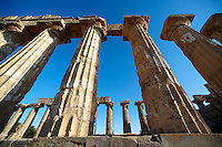 Greek Dorik columns at the  ruins of Temple F at Selinunte, Sicily
