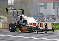 Apr 10, 2015; Las Vegas, NV, USA; NHRA top fuel driver Troy Buff during qualifying for the Summitracing.com Nationals at The Strip at Las Vegas Motor Speedway. Mandatory Credit: Mark J. Rebilas-