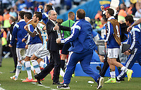 FUSSBALL WM 2014                ACHTELFINALE Argentinien - Schweiz                  01.07.2014 Trainer Alejandro Sabella (Argentinien) jubelt