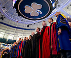 Aug. 23, 2011; University officers and deans sing the Alma Mater at the 2011 opening Mass in the Purcell Pavilion..Photo by Matt Cashore/University of Notre Dame