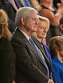 Former Speaker of the United States House of Representatives Newt Gingrich and his wife, Callista await the arrival of Pope Francis to deliver an address to a Joint Session of the United States Congress in the US Capitol in Washington, DC on Thursday, September 24, 2015.<br /> Credit: Ron Sachs / CNP<br /> (RESTRICTION: NO New York or New Jersey Newspapers or newspapers within a 75 mile radius of New York City)