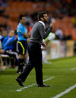 D.C. United head coach Ben Olsen yells to his team during a game at RFK Stadium in Washington, DC.  San Jose defeated D.C. United, 2-0.