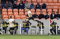 Houston, TX - Friday December 9, 2016: Jon Bakero (7) of the Wake Forest Demon Deacons celebrates his goal in the first half against the Denver Pioneers at the NCAA Men's Soccer Semifinals at BBVA Compass Stadium.
