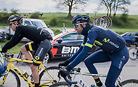 #1 Alejandro Valverde (ESP/Movistar) all wrapped up against the (very) cold wind<br /> <br /> 81st La Fl&egrave;che Wallonne (1.UWT)<br /> One Day Race: Binche &rsaquo; Huy (200.5km)