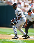 MILWAUKEE - 1992:  Frank Thomas of the Chicago White Sox fields during an MLB game at the Oakland Coliseum in Oakland, California.  Thomas played for the White Sox from 1990-2005. (Photo by Ron Vesely)