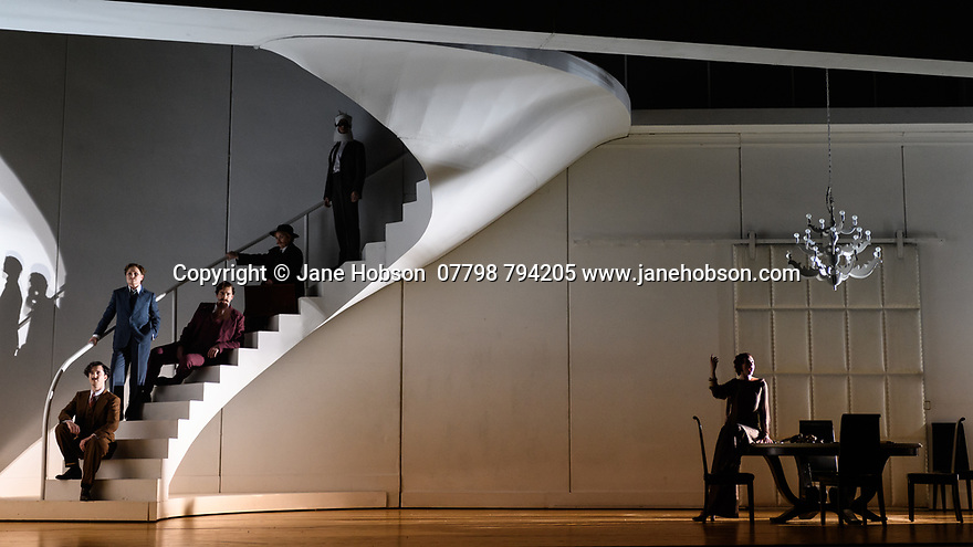 """London, UK. 13.03.2017. English National Opera preents Christopher Alden's production of """"Partenope"""", by George Frederic Handel, at the London Coliseum.  Picture shows: James Laing (Armindo), Patricia Bardon (Arsace), Matthew Durkan (Ormonte), Stephanie Windsor-Lewis (Rosmina disguised as Eurimine), Rupert Charlesworth (Emilio), Sarah Tynan (Partenope). Photograph © Jane Hobson."""