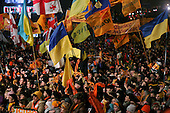 """Kiev, Ukraine.December 27, 2004..Perhaps the last """"Orange Revolution"""" rally in Kiev as election polls show the opposition candidate Viktor Yushchenko in a strong lead with 98% of the vote counted. ..Thousands of supporters rally to his side on Maidan Independence Square.  ..The first round of voting was considered fraudulent when the ruling president Viktor Yahukovich won and the opposition candidate Viktor Yushchenko lost. ..Several hundred thousand Ukrainians took to the streets of Kiev and held daily rallies on Maidan Independence Square. The protests lasted nearly a month before the first vote was declared invalid and a new round of elections held on December 26, 2004. ..The demonstrations would come to be known as the """"Orange Revolution"""" after the color of the opposition party."""