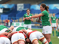 Ireland's Larissa Muldoon prepares to place the ball into the scrum <br /> <br /> Photographer Ian Cook/CameraSport<br /> <br /> Women's Six Nations Round 4 - Wales Women v Ireland Women - Saturday 11th March 2017 - Cardiff Arms Park - Cardiff<br /> <br /> World Copyright &copy; 2017 CameraSport. All rights reserved. 43 Linden Ave. Countesthorpe. Leicester. England. LE8 5PG - Tel: +44 (0) 116 277 4147 - admin@camerasport.com - www.camerasport.com