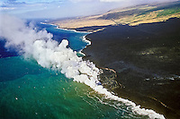 Aerial view of lava entering the ocean and creating massive steam clouds and a lava delta and bench, Hawaii Volcanoes National Park, Kilauea, Big Island, Hawaii, USA, Pacific Ocean
