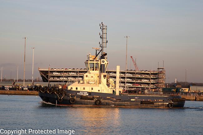 Tug Boat in Southampton Dock, England, UK