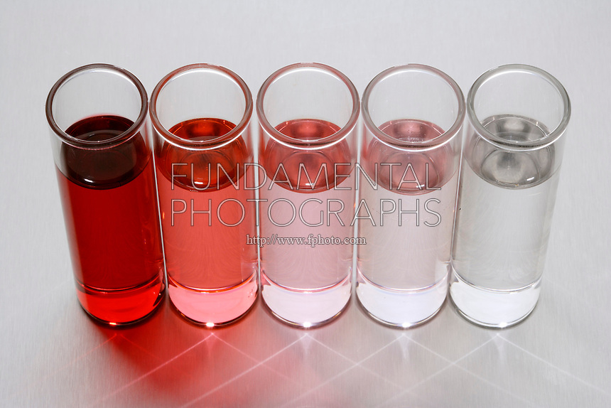 DILUTION OF A CONCENTRATED SOLUTION<br /> Cough syrup is diluted with water<br /> Various concentrations of cough syrup are placed in cups to show dilution of a concentrated solution. On a darkness scale from 1-10 with 10 being the darkest, the dilutions read from left to right as: 10, 4, 6, 8, and 2.