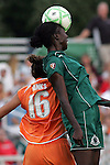 19 August 2009:  The ball flattens out on the head of Tina Ellertson (right) of Saint Louis Athletica who beats Kerri Hanks (16) of Sky Blue FC to a head ball.  Saint Louis Athletica was defeated by the visiting Sky Blue FC 0-1 in the post season Super Semifinal Women's Professional  Soccer game at Anheuser-Busch Soccer Park, in Fenton, MO.
