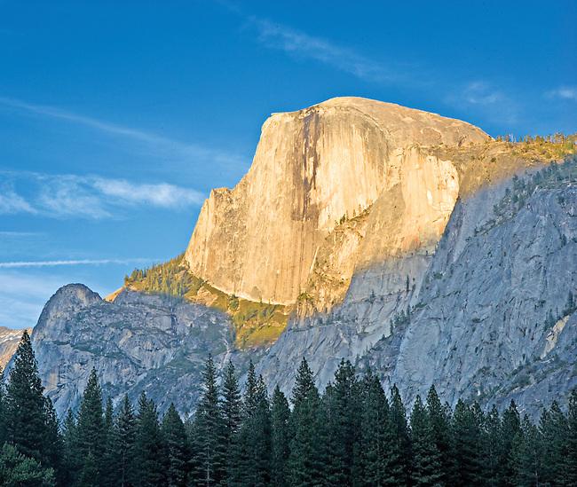 Dramatic Last Evening Light on Half Dome, Yosemite National Park, CA.