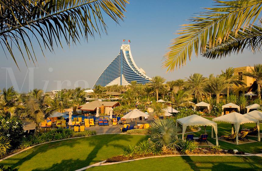 Dubai.  View of Jumeirah Beach Hotel over executive pool area and gardens..