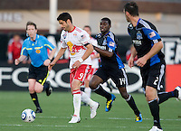 Juan Pablo Angel of Red Bulls in action during the game against the Earthquakes at Buck Shaw Stadium in Santa Clara, California.  San Jose Earthquakes defeated New York Red Bulls, 4-0.