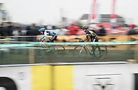 Lars van der Haar (NED/Telenet-Fidea) unclipping at speed during the course recon<br /> <br /> CX Superprestige Noordzeecross <br /> Middelkerke / Belgium 2017