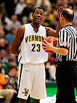 21 January 2010: University of Vermont Catamount forward Marqus Blakely, a Senior from Metuchen, NJ, talks to the referee during a game against the Stony Brook University Seawolves at Patrick Gymnasium in Burlington, Vermont. The Catamounts fell to the Seawolves 65-60 in the America East matchup. Mandatory Credit: Ed Wolfstein Photo