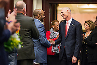 TALLAHASSEE, FLA. 3/3/15-Gov. Rick Scott, center, greets Rep. Alan B. Williams, D-Tallahassee, as he enters the House Chamber to give the State of the State Address during the opening day of the 2015 Legislative Session Tuesday at the Capitol in Tallahassee.<br /> <br /> COLIN HACKLEY PHOTO