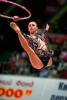 "Inna Zhukova of Belarus split leaps to re-catch hoop at 2008 World Cup Kiev, ""Deriugina Cup"" in Kiev, Ukraine on March 23, 2008."