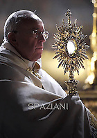 Pope Francis Corpus Domini Procession basilicas San Giovanni in Laterano in Rome. June 19, 2014