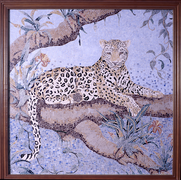 48 x 48 inch Leopard panel in a high-honed-pillowed finish
