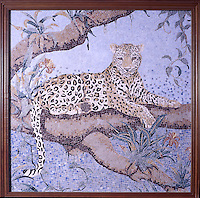 Custom 48 x 48 inch Leopard mosaic panel shown in a high-honed-pillowed finish marble tesserae by New Ravenna.<br />