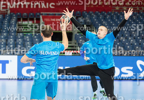 Darko Cingesar of Slovenia and Matej Gaber of Slovenia during practice session of Team Slovenia on Day 1 of Men's EHF EURO 2016, on January 15, 2016 in Centennial Hall, Wroclaw, Poland. Photo by Vid Ponikvar / Sportida