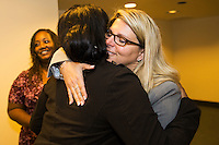 TALLAHASSEE, FLA. 3/4/14- Diena Thompson, right, mother of 7-year-old Somer Thompson who was abducted and killed in 2009 in Orange Park, hugs Ashley Foster of Boynton Beach, a molestation victim whose case was not able to be prosecuted because the statute of limitations had run out, after a package of bills to strengthen laws against sex offenders passed the Senate on opening day of the legislative session, March 4, 2014 at the Capitol in Tallahassee.<br /> <br /> COLIN HACKLEY PHOTO