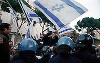 Roma 15 Aprile 2002.Israele Day.Manifestazione per lo stato di Israele in piazza del Campidoglio.Manifestanti della comunità ebraica di Roma manifestano contro i palestinesi presenti in piazza Venezia..