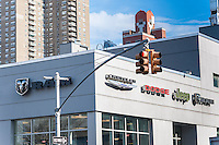 A Chrysler dealer in Manhattan in New York on Thursday, January 12, 2017. The U.S. Environmental Protection Agency has alleged that secretly installed software will cause the car to appear more environmentally friendly when going through emissions testing while allowing increased emissions during normal day-to-day driving. Fiat Chrysler stock fell over 15 percent before trading was suspended. (© Richard B. Levine)