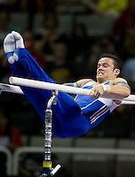 Paul Ruggeri of University of Illinois competes on the parallel bars during the 2012 US Olympic Trials competition at HP Pavilion in San Jose, California on June 28th, 2012.