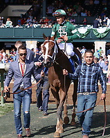LEXINGTON, KY - April 09, 2017, #3 Sweet Loretta and jockey Javier Castellano after winning the 32nd running of the Adena Springs Beaumont Grade 3 $150,000 for owner St. Elias Stable and trainer Todd Pletcher at Keeneland Race Course.  Lexington, Kentucky. (Photo by Candice Chavez/Eclipse Sportswire/Getty Images)