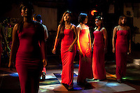 Sex workers are paraded in a line-up at a night-club 'fashion show' in Yangon.