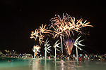 Fireworks over Esplanade Lagoon during annual Festival Cairns.  Cairns, Queensland, Australia