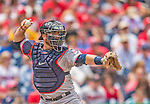 9 June 2013: Minnesota Twins catcher Ryan Doumit in action against the Washington Nationals at Nationals Park in Washington, DC. The Nationals shut out the Twins 7-0 in the first game of their day/night double-header. Mandatory Credit: Ed Wolfstein Photo *** RAW (NEF) Image File Available ***